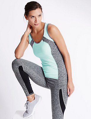 Sportset van gemêleerd hemdje en legging, , catlanding