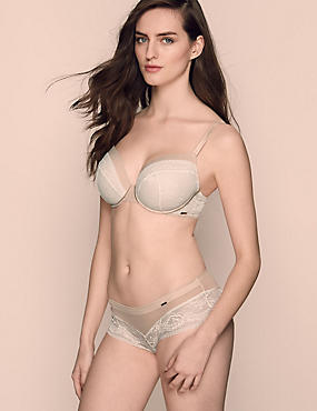 Lace Set with Padded Plunge DD-G, , catlanding