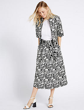 Cotton Blend Floral Print Skirt & Jacket Set, , catlanding
