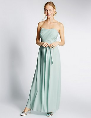 Strapless Pleated Maxi Dress with Belt, , catlanding