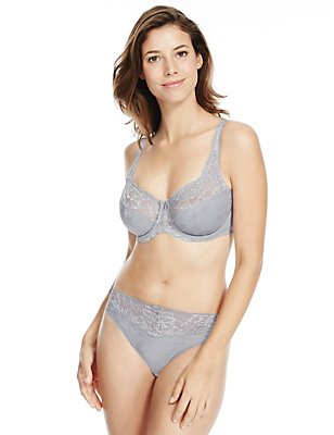 Jacquard Lace Set with Floral Non-Padded Full Cup DD-H, , catlanding