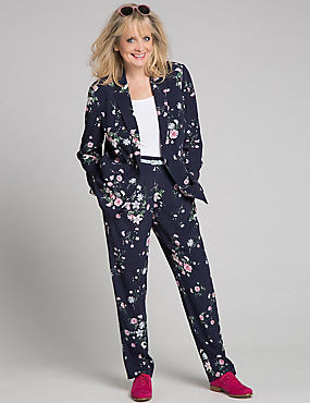Floral Print Jacket & Trousers Set, , catlanding