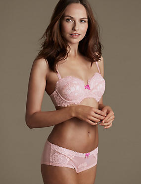 Floral Lace Set with Padded Underwired Balcony A-E