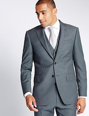Grey Textured Regular Fit Suit, , catlanding