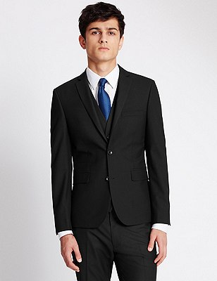 Big & Tall Black Super Slim Fit Suit, , catlanding