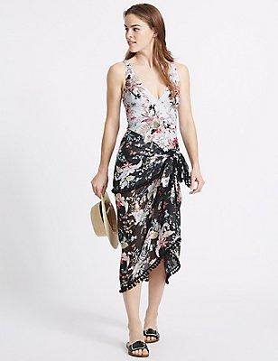 Floral Print Tankini & Sarong Set, , catlanding