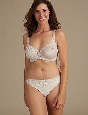 Floral Jacquard Set with Underwired Full Cup DD-H, , catlanding