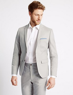Grey Textured Tailored Fit Suit , , catlanding