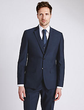 Big & Tall Indigo Tailored Fit Suit with Waistcoat, , catlanding