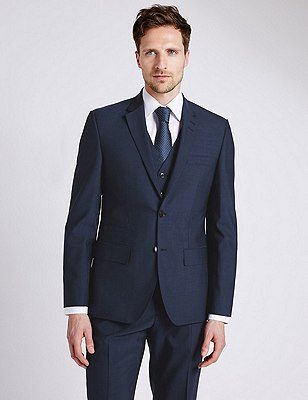 Big & Tall Navy Tailored Fit Suit Including Waistcoat , , catlanding