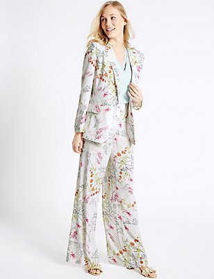 Floral Print Jacket & Trousers Set , , catlanding