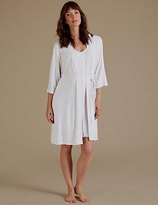 Maternity Striped Dressing Gown & Nightdress Set, , catlanding