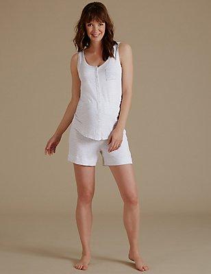 Maternity Striped Sleeveless Short Pyjama Set, , catlanding