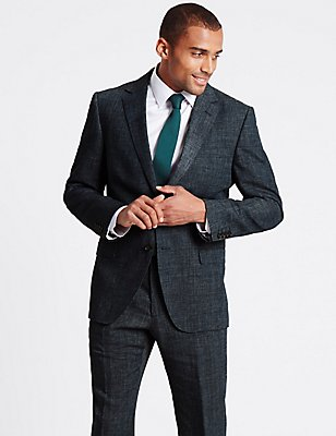 Grey Textured Regular Fit 3 Piece Suit, , catlanding