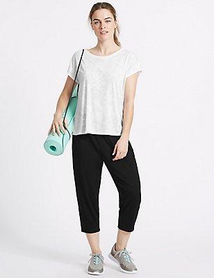 Set met T-shirt met bladerprint en 7/8-broek, , catlanding
