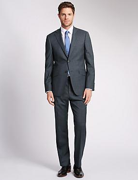 Grey Striped Regular Fit Suit, , catlanding