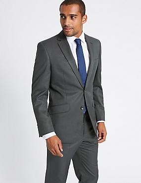 Charcoal Textured Regular Fit Suit, , catlanding