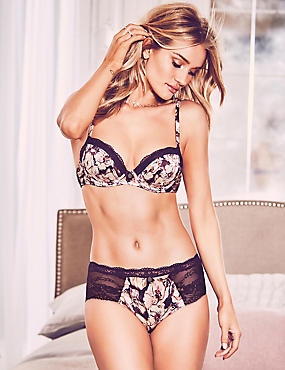 Silk & Lace Floral Print Set with Padded Balcony A-E, , catlanding