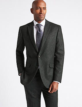 Charcoal Textured Tailored Fit Suit, , catlanding