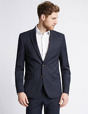 Navy Striped Modern Slim Fit Suit, , catlanding