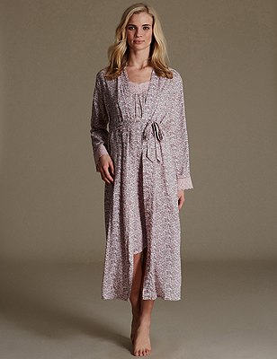 Pure Modal Floral Wrap Set with Nightdress, , catlanding