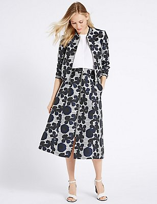 Floral Print Jacket & Skirt Set, , catlanding
