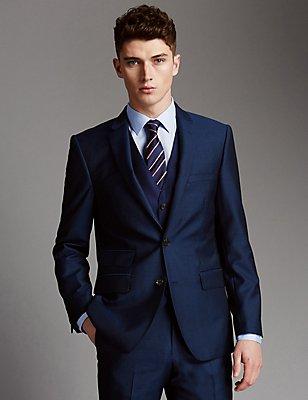 Grandes tailles – Costume 3pièces bleu en laine, , catlanding