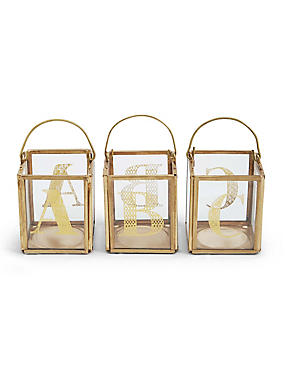 Quadratische Teelichthalter mit einzelnen Buchstaben A–Z, , catlanding