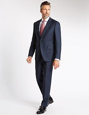 Indigo Textured Tailored Fit Suit, , catlanding