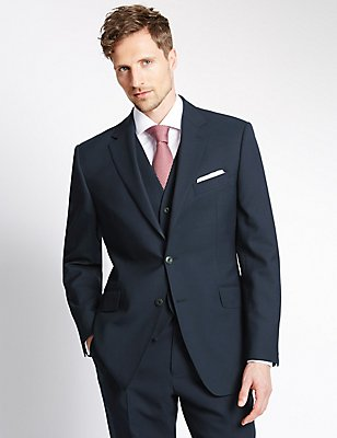 Navy Regular Fit Wool 3 Piece Suit, , catlanding