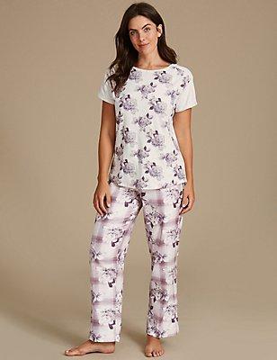 Pyjamaset met bloemmotief, , catlanding