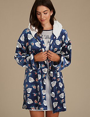 Printed Nightdress with Dressing Gown, , catlanding