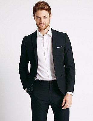 Navy Textured Tailored Fit Suit , , catlanding