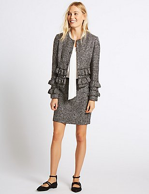 Textured Jacket & Skirt Set, , catlanding