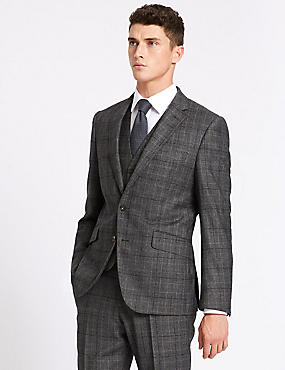 Charcoal Tailored Fit Wool 3 Piece Suit, , catlanding