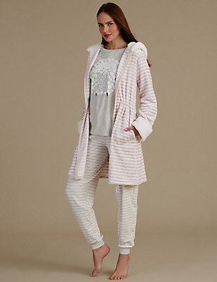 Striped Dressing Gown & Pyjama Set, , catlanding
