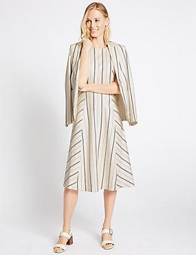 Linen Blend Striped Blazer & Dress Set, , catlanding