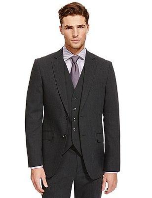 Big & Tall Charcoal Regular Fit Suit, , catlanding