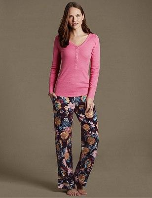 Henley Neck Pyjamas, , catlanding