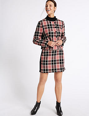 Cotton Rich Checked Jacket & Skirt Set , , catlanding