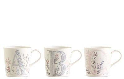 Mugs à motif fleurs et lettres de l'alphabet A-Z, , catlanding