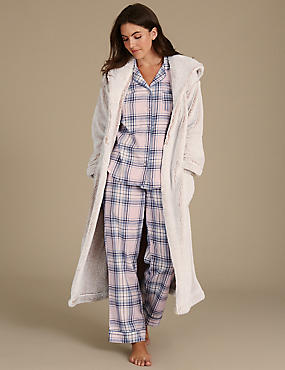 Checked Pyjama Set with Dressing Gown, , catlanding