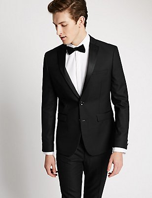 Black Textured Modern Slim Tuxedo Suit, , catlanding