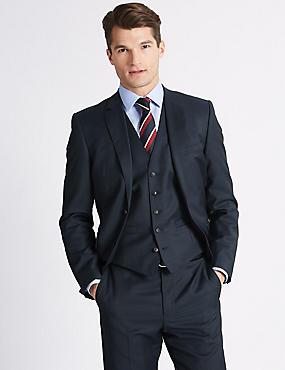 Navy Tailored Fit Wool 3 Piece Suit, , catlanding