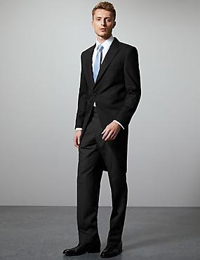 Jaquette noire en laine mélangée coupe standard, , catlanding