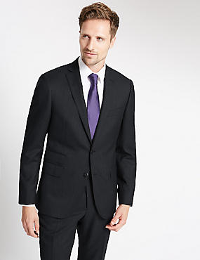Charcoal Textured Slim Fit Wool Suit, , catlanding