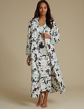 Satin Floral Print Nightdress Set with Dressing Gown, , catlanding