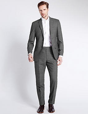 Black Checked Tailored Fit Suit, , catlanding