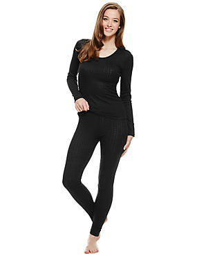 Lot de 2ensembles chauffants avec top en maille pointelle et leggings, , catlanding