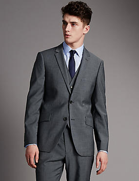 Grey Tailored Fit Wool 3 Piece Suit, , catlanding
